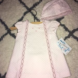 Puli & Me Baby girls Quilted Pink Pique dress
